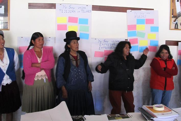 Women artisans participating in the ASSET Program in Bolivia.